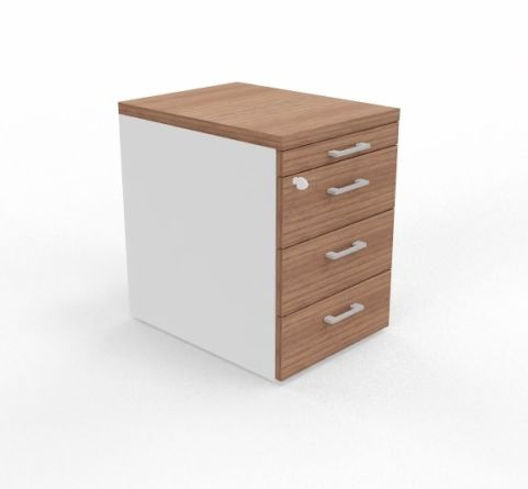 3 Drawer Pedestal Unit With White Sides And Pen Tray Unit