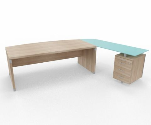 XPT 1800mm Panel Desk Top And Sides Elm Glass Right Return Support Ped