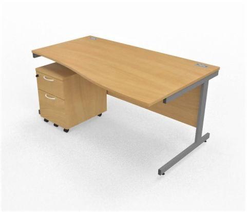 Wave Desk Right With Pedestal Underdesk