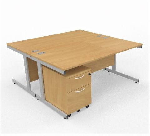 Draycott 2 Person Desk With 2 Drawer Pedestals