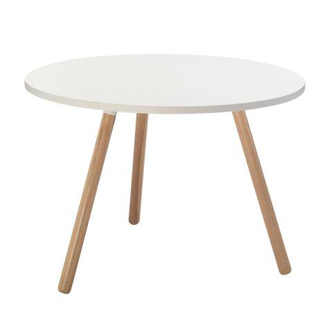 White Coffee Table Wooden Legs White Top