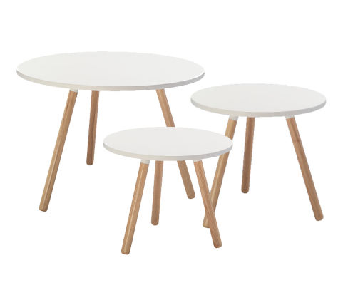 Nesting Tripod Coffee Table Whiet Top Wooden Legs