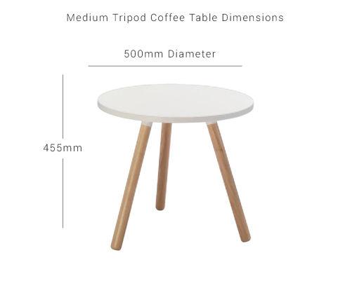 Medium Tripod Coffee Table White Top Tripod Legs