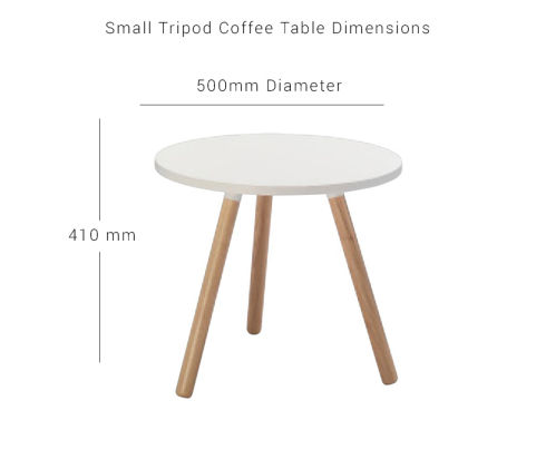 Small Tripod Coffee Table White Top Wooden Legs
