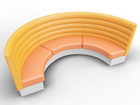Set Of 3 Fusion Modular Upholstered Curved Seats In Patina Glazed + Irregular Finish + Silver Base