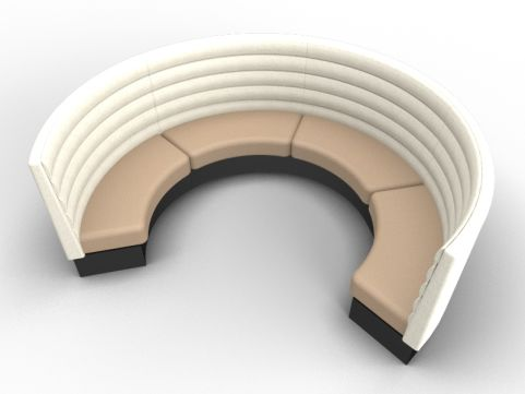 Set Of 4 Fusion Curved Modular Seats In Advantage Sandvale & Mainline Flax Upminster With A Black Base