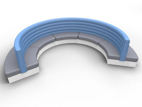 Fusion Conteporary Curved Double Upholstered Seat - Set Of Five - Advantage Delta Blue + Mineral Grey - Silver Base