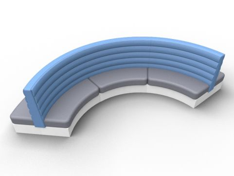 Fusion Curved Double Seat - Set Of Three - Advantage Delta Blue + Mineral Grey - Silver Base
