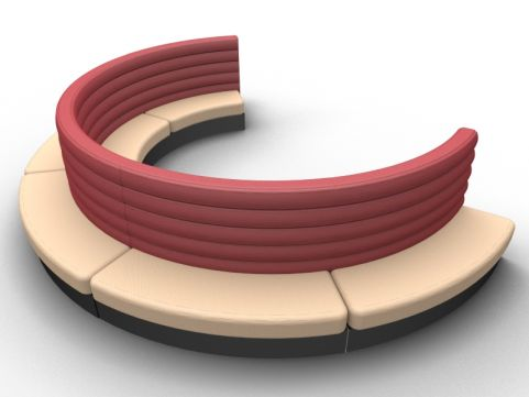 Fusion Freestanding Curved Double Upholstered Seat - Outer - Set Of Five - Advantage - Sandvale +Wine Red - Black Base