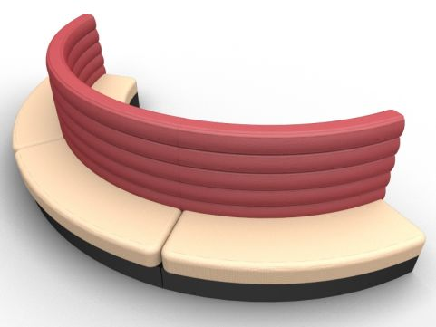 Fusion Freestanding Curved Double Upholstered Seat - Outer - Set Of Three - Advantage - Sandvale +Wine Red - Black Base