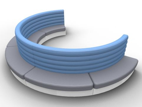 Fusion Modern Curved Double Seat - Outer - Set Of Five - Advantage Delta Blue + Mineral Grey - Silver Base