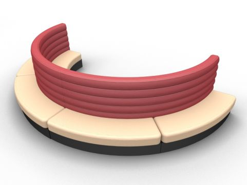 Fusion Modular Curved Double Upholstered Seat - Outer - Set Of Four - Advantage - Sandvale +Wine Red - Black Base