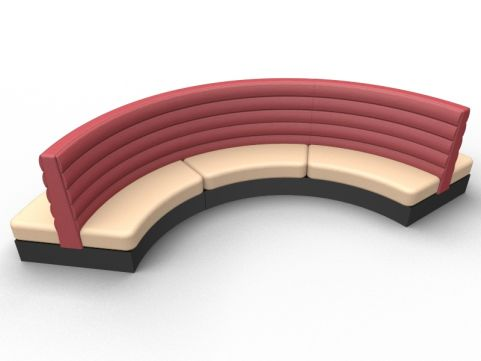 Fusion Modular Freestanding Curved Double Upholstered Seat - Set Of Three - Advantage - Sandvale +Wine Red - Black Base