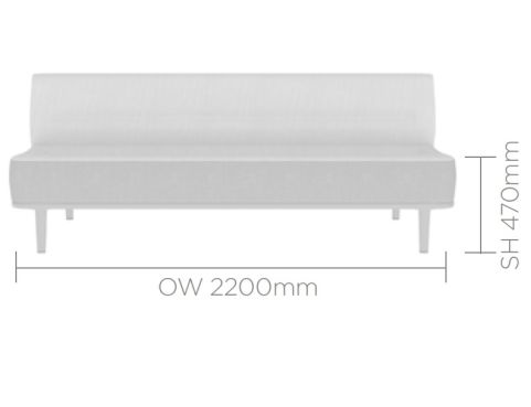 Mote Three Seater With Back 1600mm Wide