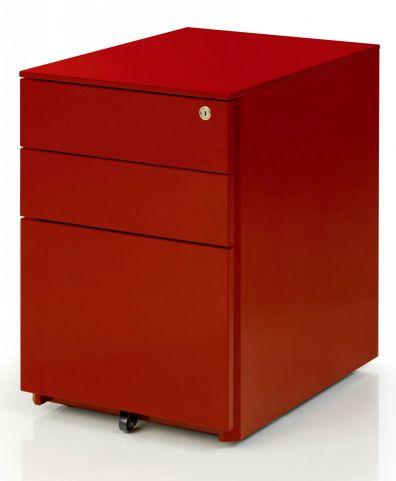 S Line Metal Under Desk Pedestal Red