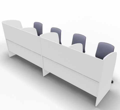 Offimat Four Person Booth Chairs Rear