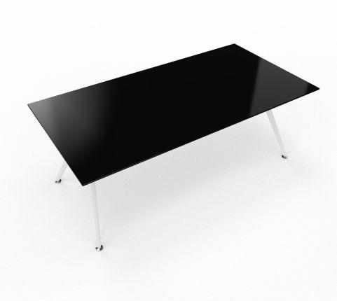 Arkitek Desk Black Glass With White Legs 2000mm