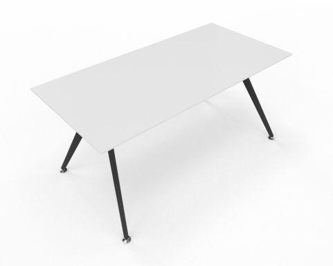 Arkitek Desk White Glass With Black Legs