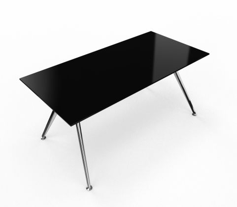 Arkitek Glass Black Desk Polished Legs 1600mm