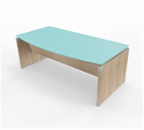 Panel Desk Glass Top Bow Fronted Section