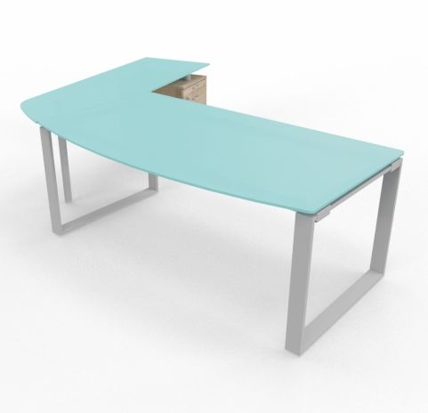 XT Ring Glass Desk Return And Pedestal Drawers Right Handed