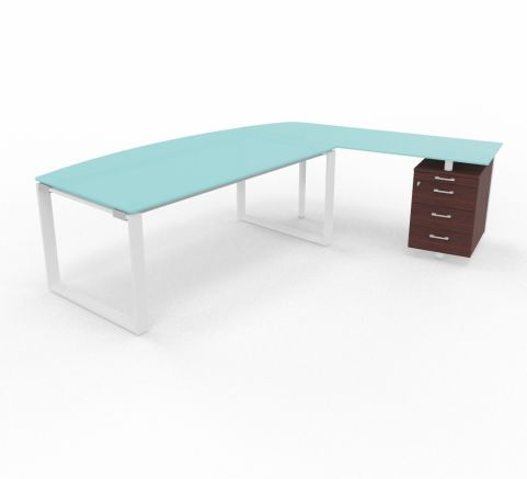 XT Glass Desk With Return And Pedestal Drawers Right Handed Wenge Drawers