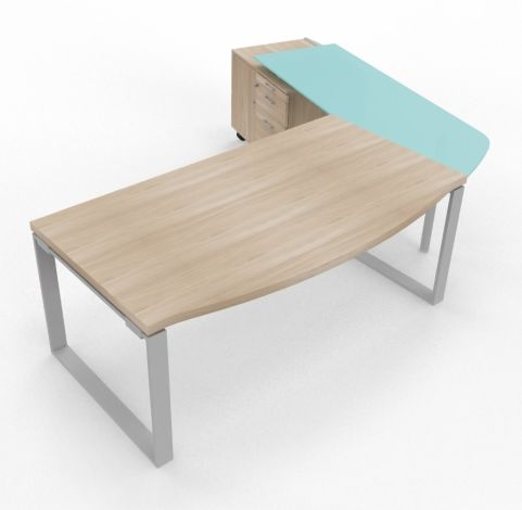 XT Panel Wih Glass Return And Underdesk Supporting Credenza