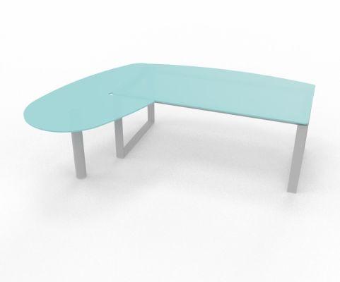 Glass Desk And Return Unit Loop Leg