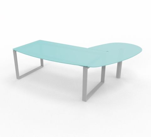 XT Ring Glass Desk With Return Unit Aluminium Leg