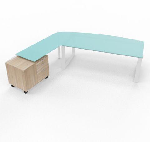 XT Ring Executive Desk With Glass Returm Credenza Unit
