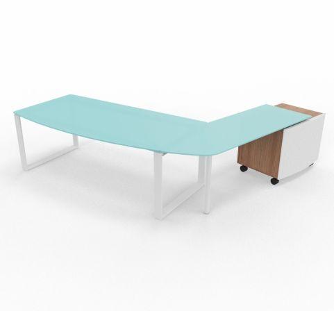 XT Ring Glass Desk Return And Pedestal Drawers Left Handed Walnut Finish