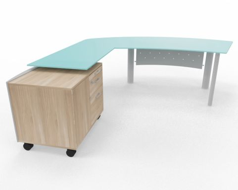 XT Next Bow Fronted Glass Desk With Left Hand Glass Return Unit And Supporting Credenza Unit Elm