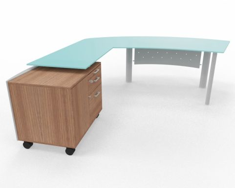 XT Next Bow Fronted Glass Desk With Left Hand Glass Return Unit And Supporting Credenza Unit Walnut
