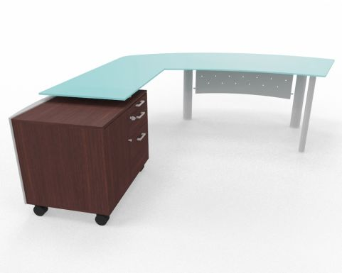 XT Next Bow Fronted Glass Desk With Left Hand Glass Return Unit And Supporting Credenza Unit Wenge