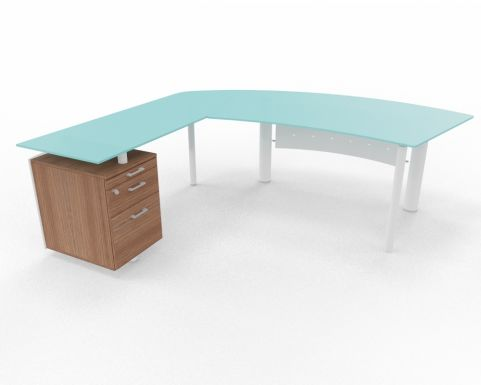 XT Next Bow Fronted Glass Desk With Left Hand Glass Return Unit And Supporting Pedestal Walnut