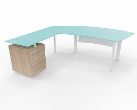 XT Next Bow Fronted Glass Desk With Left Hand Glass Return Unit And Supporting Pedestal Elm Rear View 03