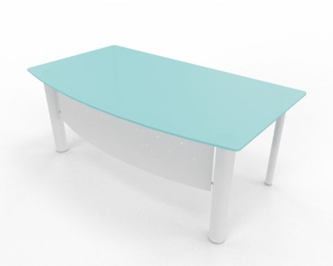 Bow Fronted Glass Top Desk XT Next Range Glass Top