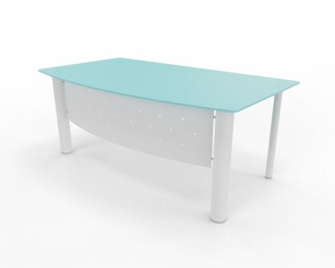Bow Fronted Desk Glass XT Next Range White Leg