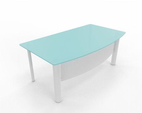 Bow Fronted Desk XT Next Range Glass Top White Legs