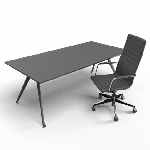 Arkitek Black Rectangular Desk With Black Legs