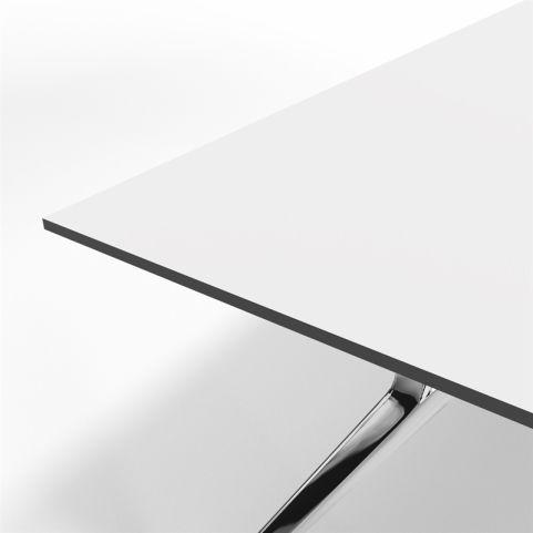 Arkitek Compact White Laminate Executive Desk With Polished Frame - Desk Closeup