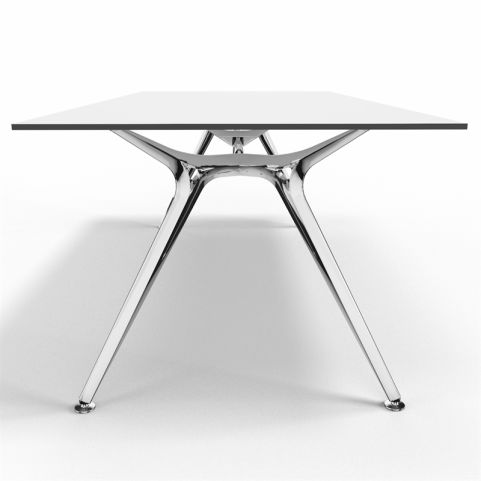 Arkitek Compact White Laminate Executive Desk With Polished Frame - Side View