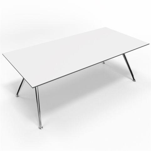 Arkitek Compact White Laminate Executive Desk With Polished Frame