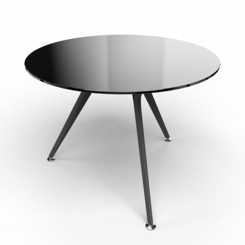 Arkitek Circular Executive Black Glass Table With Black Legs