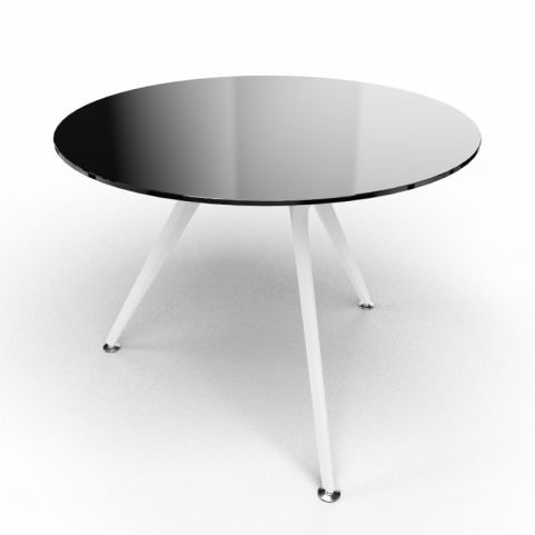 Arkitek Circular Executive Black Glass Table With White Legs