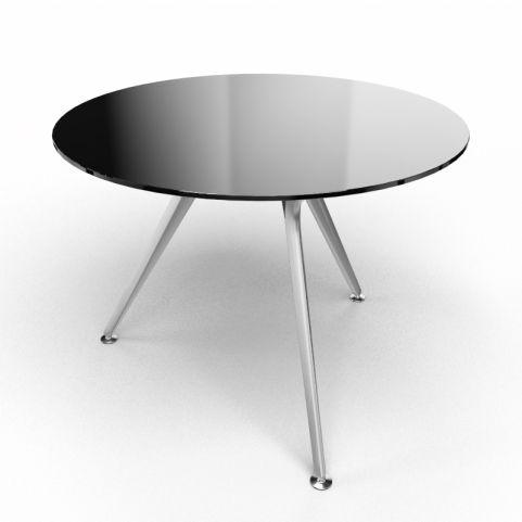 Arkitek Circular Executive Black Glass Table With Silver Legs