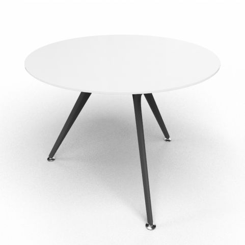 Arkitek Circular Executive White Glass Table With Black Legs