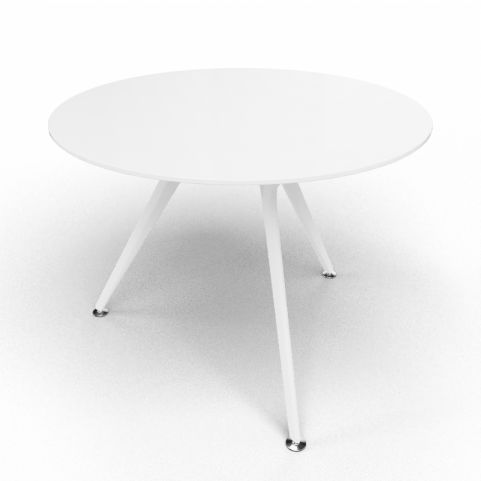Arkitek Circular Executive White Glass Table With White Legs