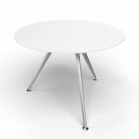Arkitek Circular Executive White Glass Table With Silver Legs