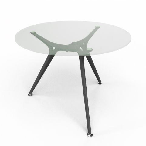 Arkitek Circular Executive Clear Glass Table With Black Legs